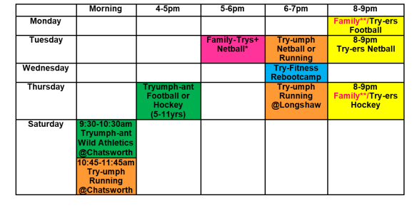 try-sports timetable