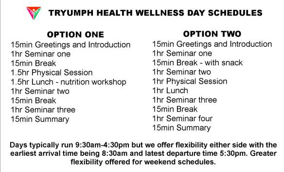Wellness day schedule options