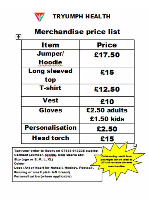 Merchandise price list
