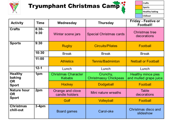 3 Day Christmas Camp Schedule